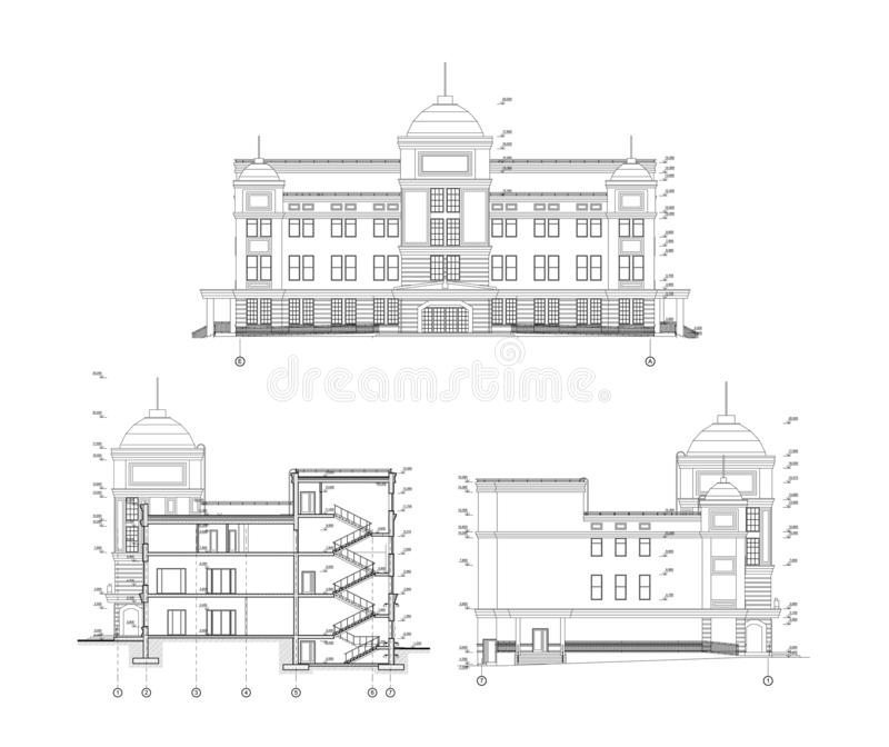 Multistory building facade and section, detailed architectural technical drawing, vector blueprint royalty free illustration