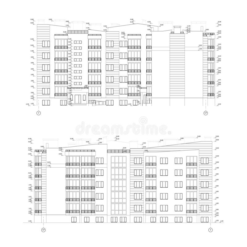 Multistory building facades, detailed architectural technical drawing, vector royalty free illustration