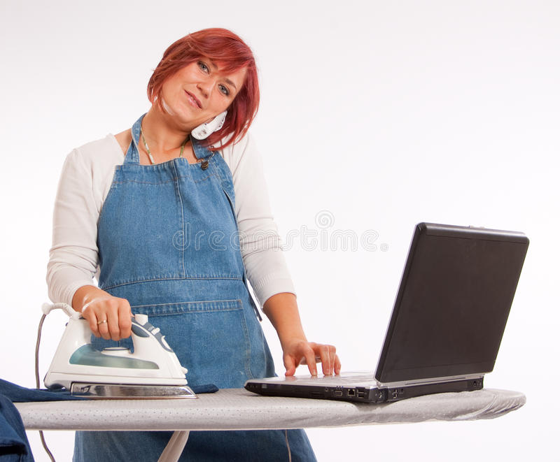 Multitarefa da mulher imagens de stock