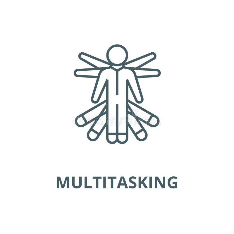 Multitarefa, linha ícone do vetor da gestão do projeto, conceito linear, sinal do esboço, símbolo ilustração royalty free