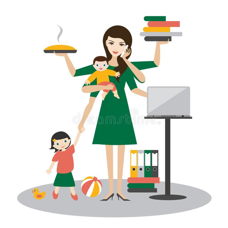 Multitask woman. Mother, businesswoman with baby, older child, working, coocking and calling. Vector illustration vector illustration