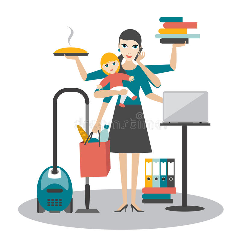 Multitask woman. Mother, businesswoman with baby working, coocking and calling. Vector illustration stock illustration