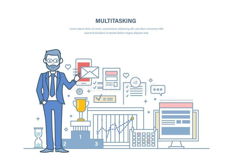multitasking Действенный контроль, управление, организация рабочего временени, планирования задает работу иллюстрация вектора