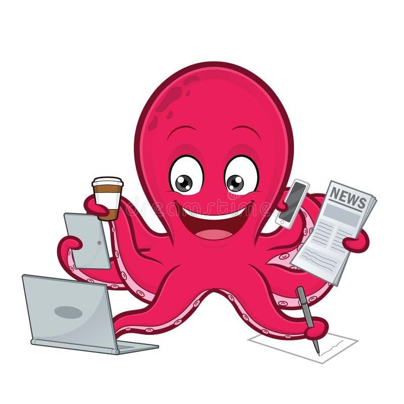 Multitasking осьминога иллюстрация вектора