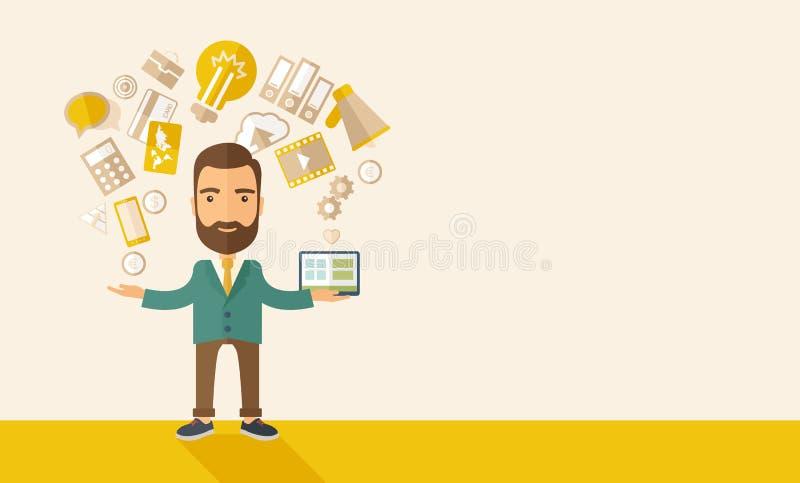 multitasking stock illustrationer