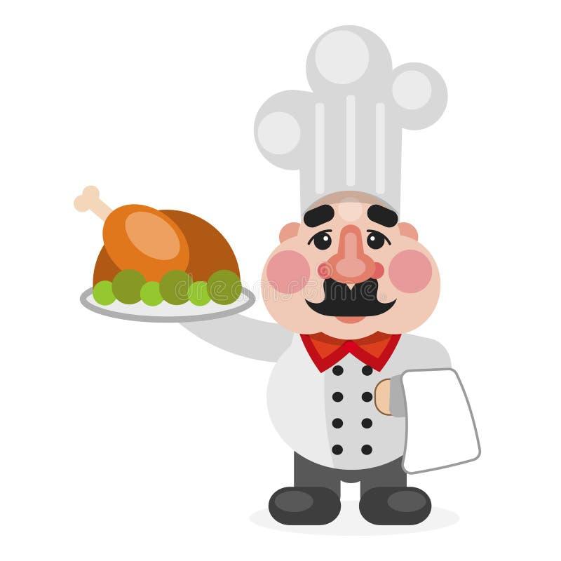 Multitasking amerykanina afrykańskiego pochodzenia szefa kuchni płaski kucharz ilustracji
