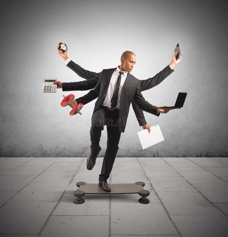 Multitasking biznesmen fotografia royalty free