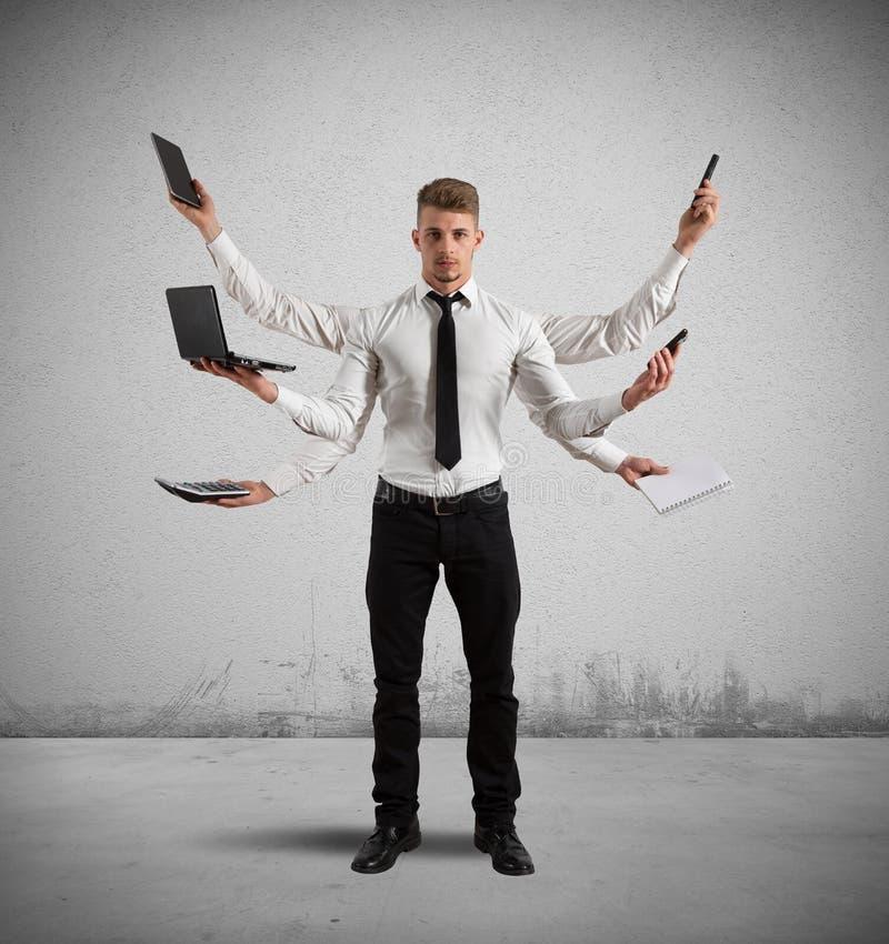 Multitasking biznesmen zdjęcie stock