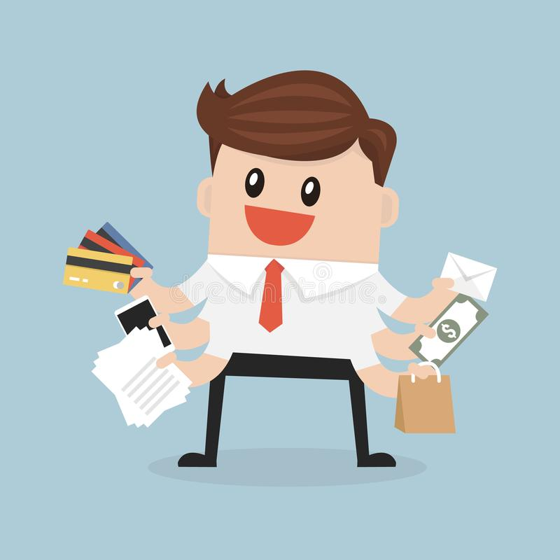 Multitasking biznesmena i zakupy pojęcia projekt royalty ilustracja
