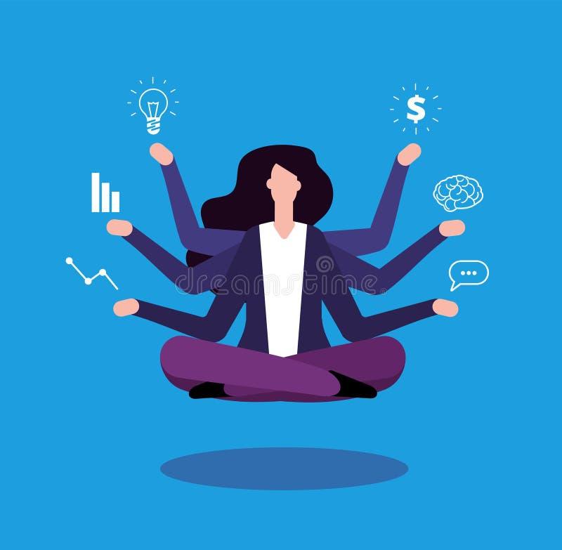 Multitasking bizneswoman Biurowego kierownika administrator robi profesjonalisty dawać zadanie Wydajny zarządzanie wektoru pojęci ilustracja wektor