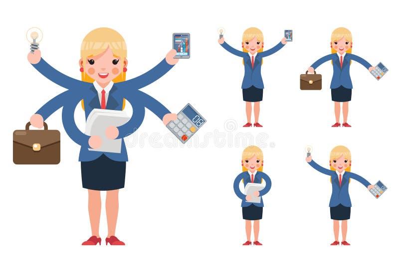 Multitasking bizneswomanu zarządzania śliczne młode fachowe wydajne biurowe postacie z kreskówki ustawiają odosobnionego na bielu ilustracji