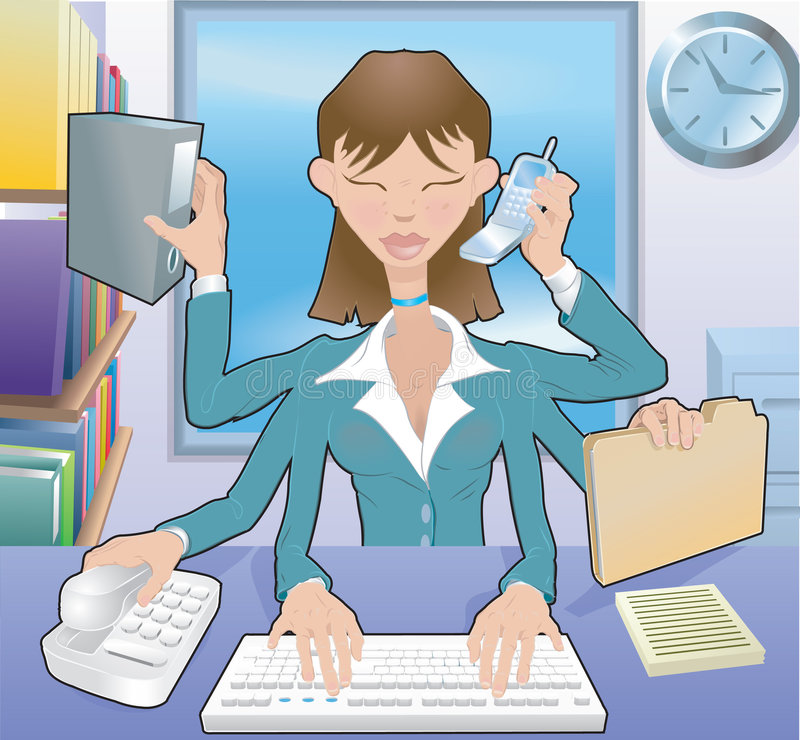 Multitasking Business woman stock illustration