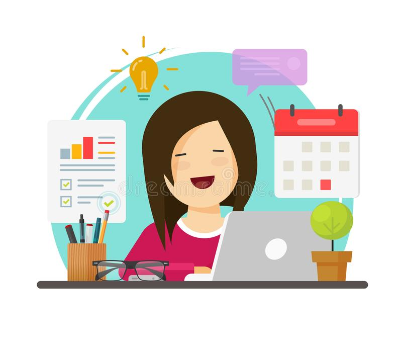 Multitasking business woman person working hard but happy on office table desk vector, flat cartoon girl sitting smiling vector illustration