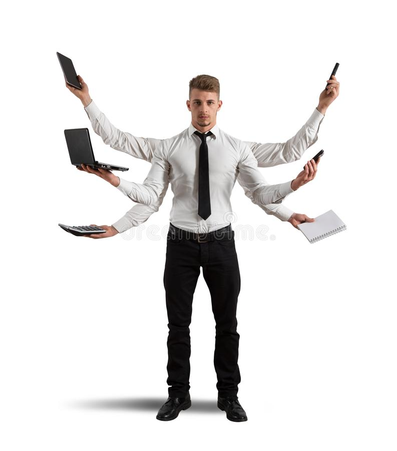 Multitasking businessman royalty free stock photo