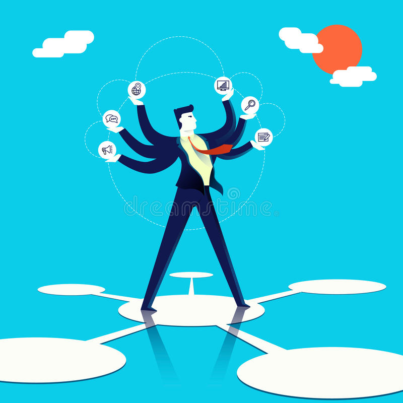 Multitasking businessman concept illustration art. Business multitasking concept illustration, executive entrepreneur man juggling multiple work skills and ways royalty free illustration