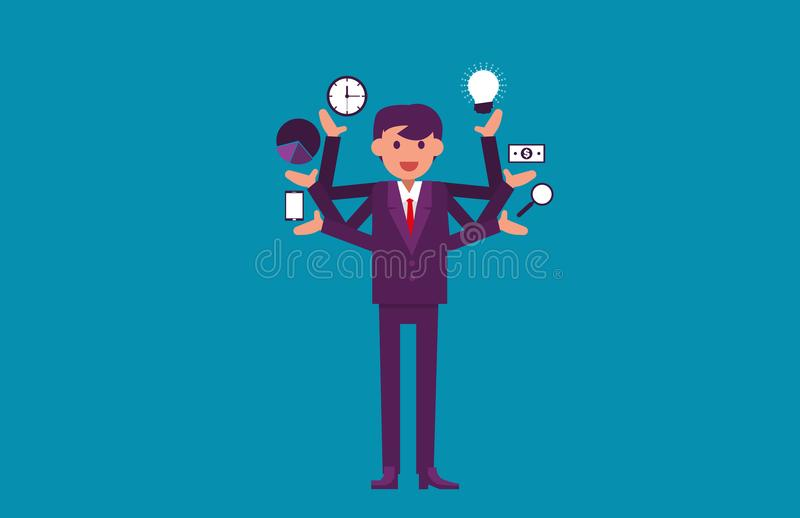 Multitasking. Businessman with multiple arms. Vector illustration business concept. royalty free illustration