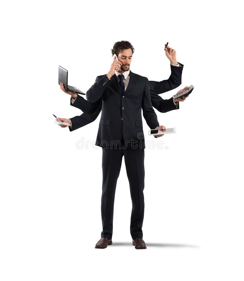 Multitasking businessman. Businessman that to solve problems become multitasking stock photo