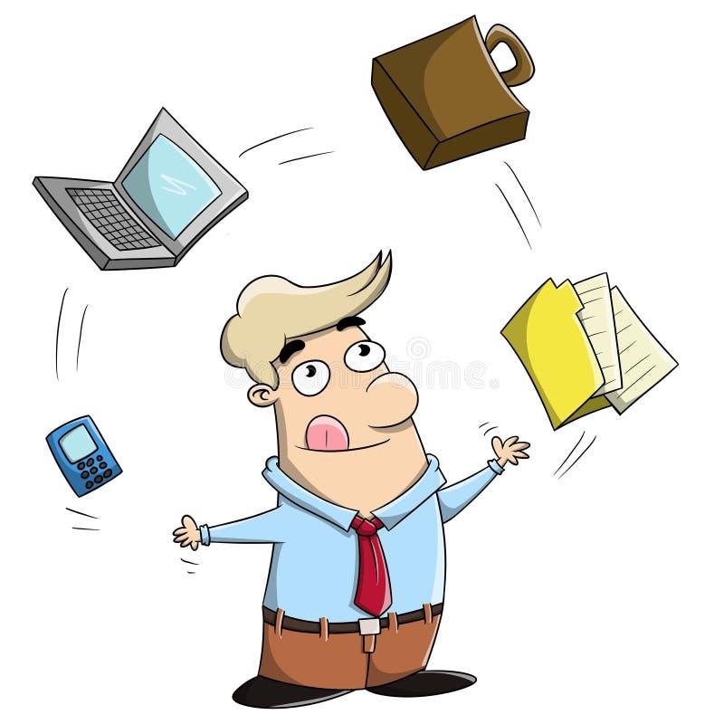 Multitasking cartoon businessman juggling office stock photography