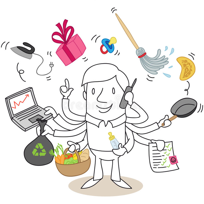 Multitasking cartoon man vector illustration