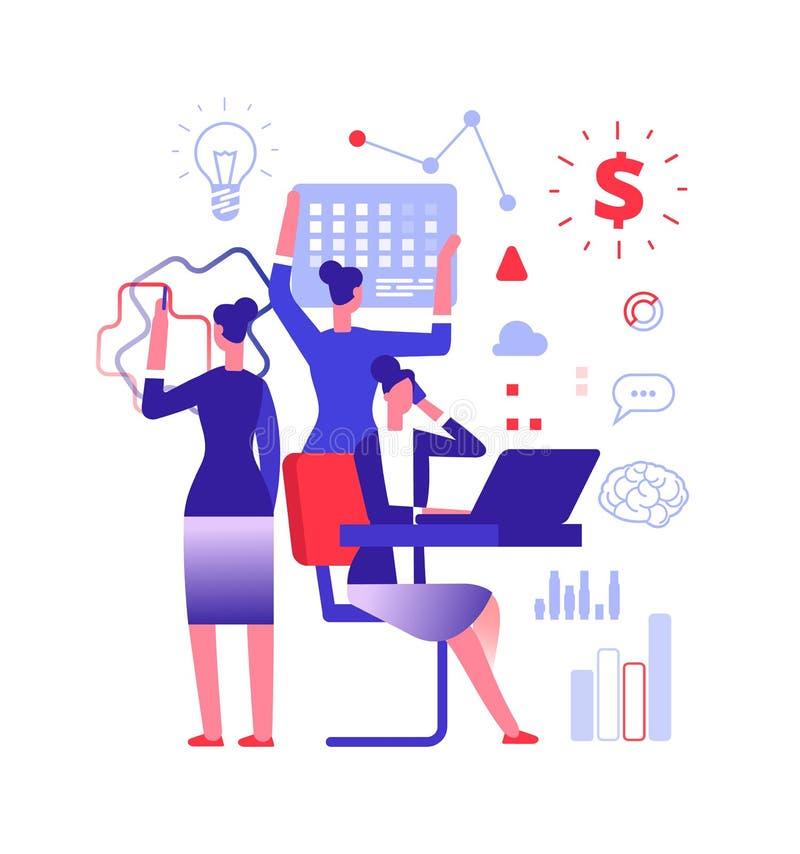 Multitasking concept. Businesswoman solving urgent tasks. Project management, achievement and work skill vector stock illustration