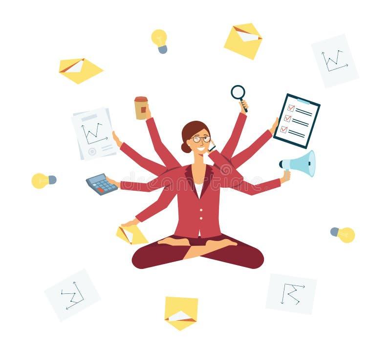 Multitasking för affärskvinna under chefjobbet, kvinnlig hård arbetare med många armar royaltyfri illustrationer