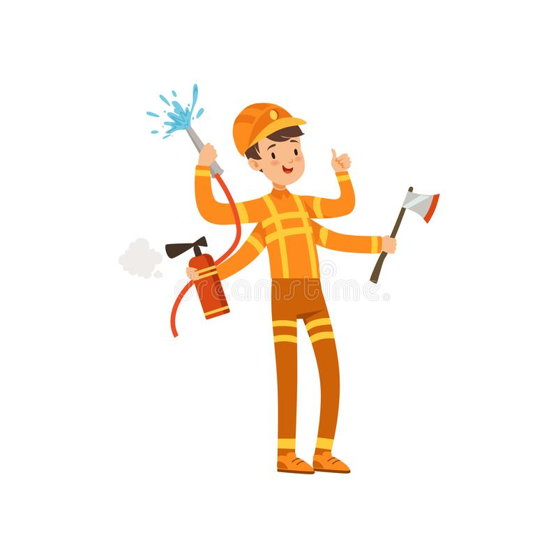 Multitasking firefighter character, male fireman with many hands holding fire fighting equipment vector Illustration on royalty free illustration