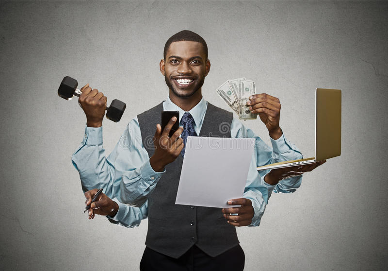 Multitasking happy business man on grey wall background. Busy life of company manager corporate executive. Many errands concept stock photo