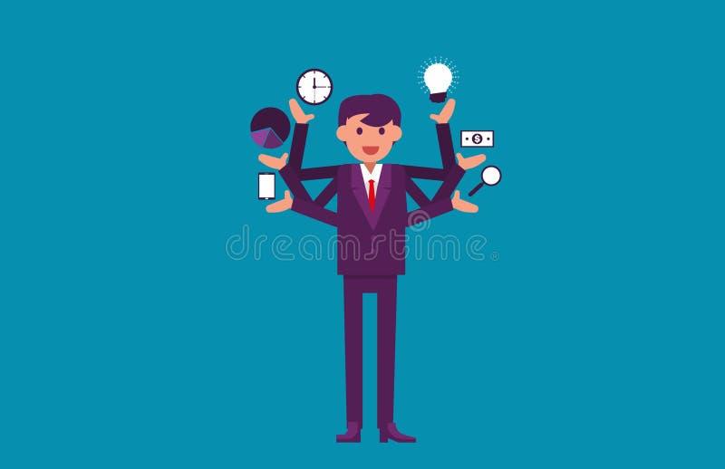 multitasking Hombre de negocios con los brazos múltiples Vector Illustratio libre illustration