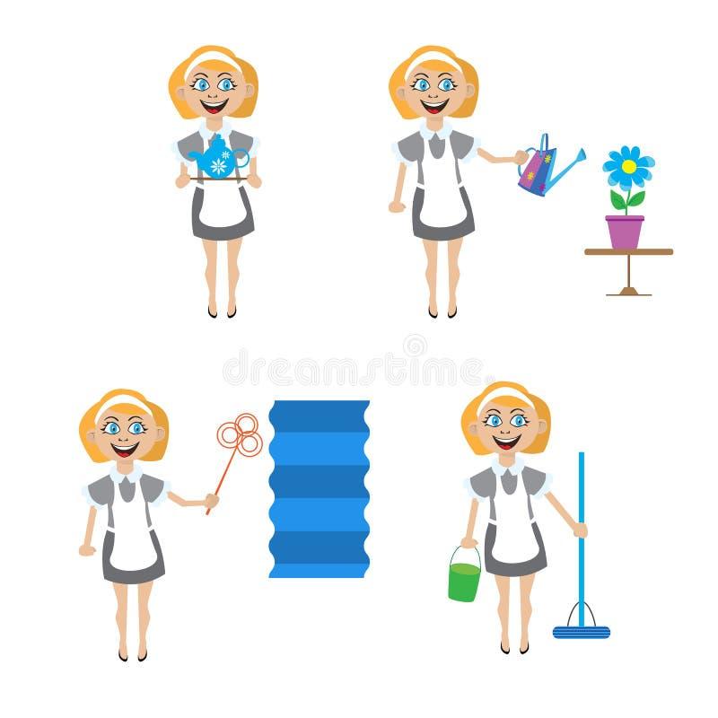 Multitasking housewife vector illustration. vector illustration