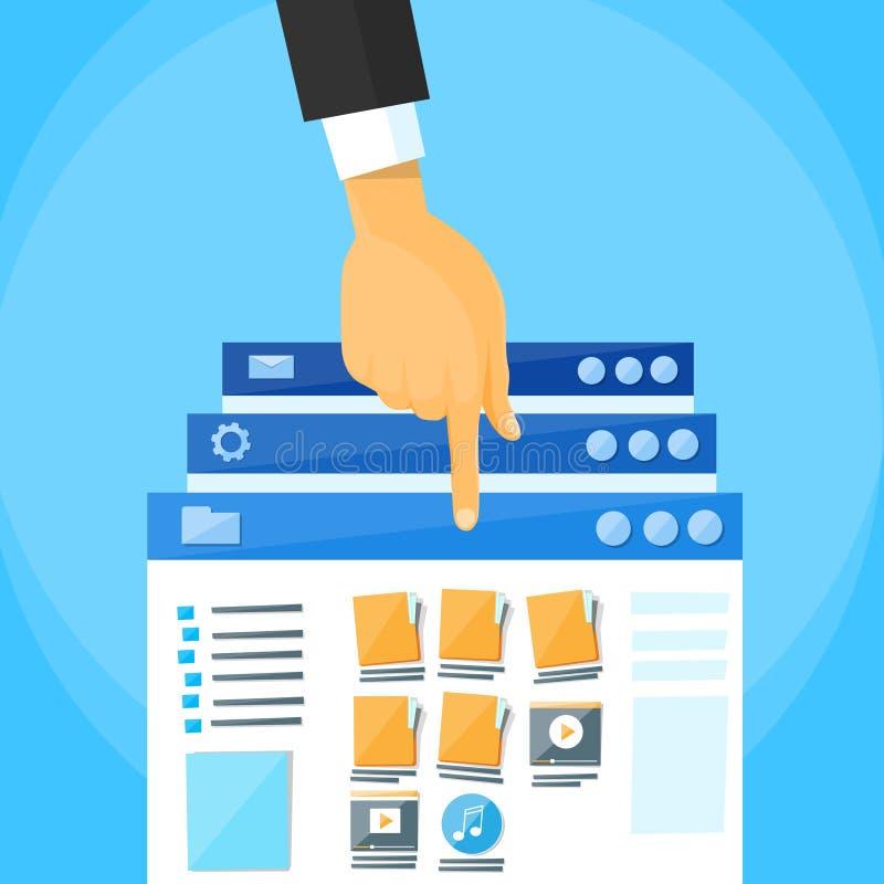 Multitasking Interface Choose Window Hand Finger. List Online Folders Cloud Internet Data File Icon Documents Browser Window Vector Illustration royalty free illustration