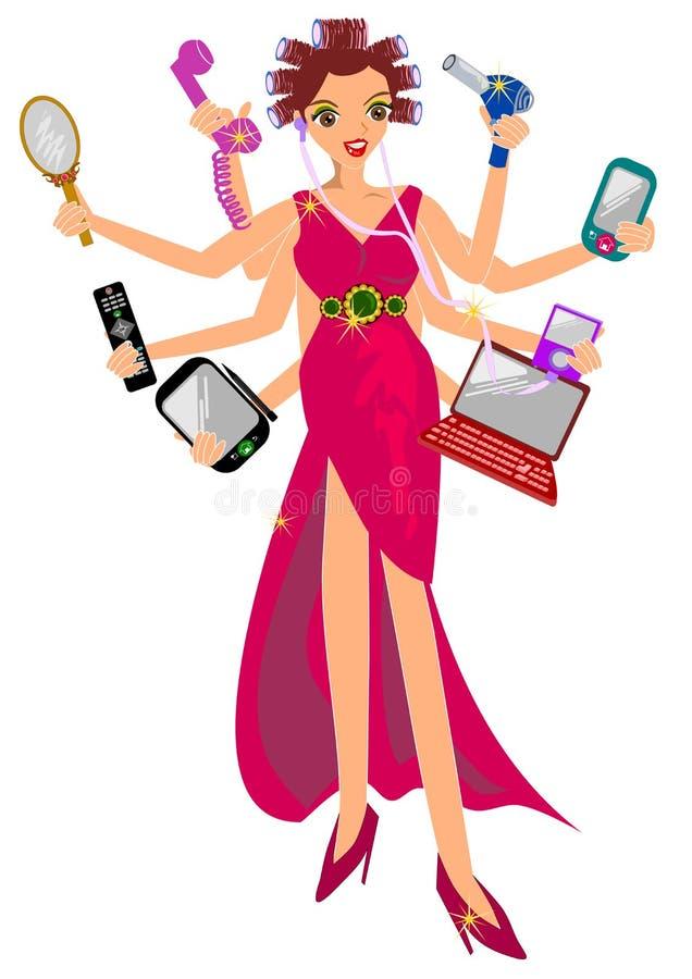 Multitasking kobieta ilustracja wektor