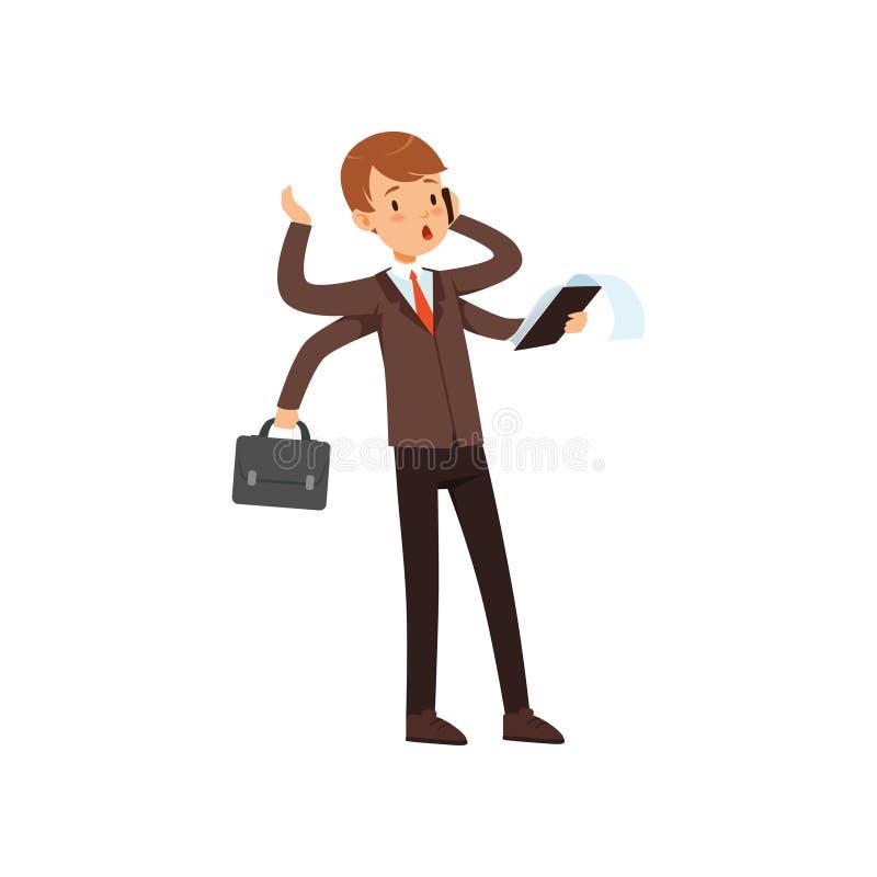 Multitasking młody biznesmen, chłopiec w garnituru charakterze z dużo wręcza wektorową ilustrację na bielu ilustracji