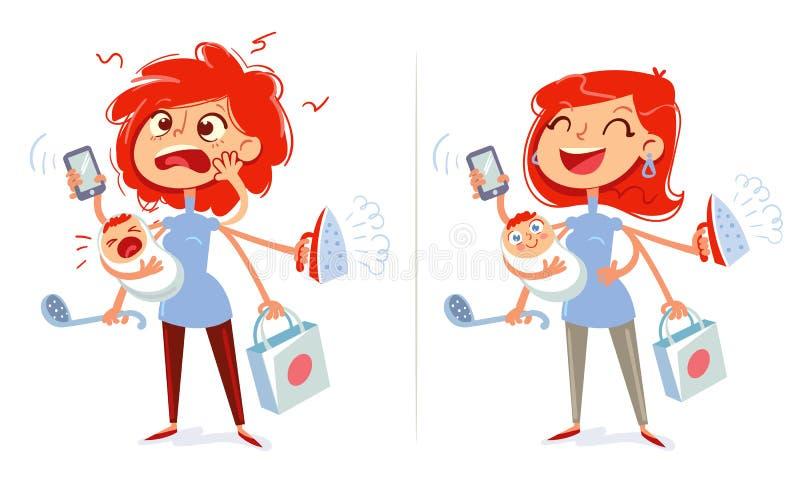 Multitasking mamma och hemmafru Trött och gladlynt kvinna stock illustrationer