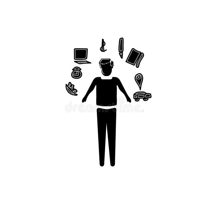 Multitasking mansymbolsvektor som isoleras på vit bakgrund, Multitasking mantecken, affärsillustrationer stock illustrationer