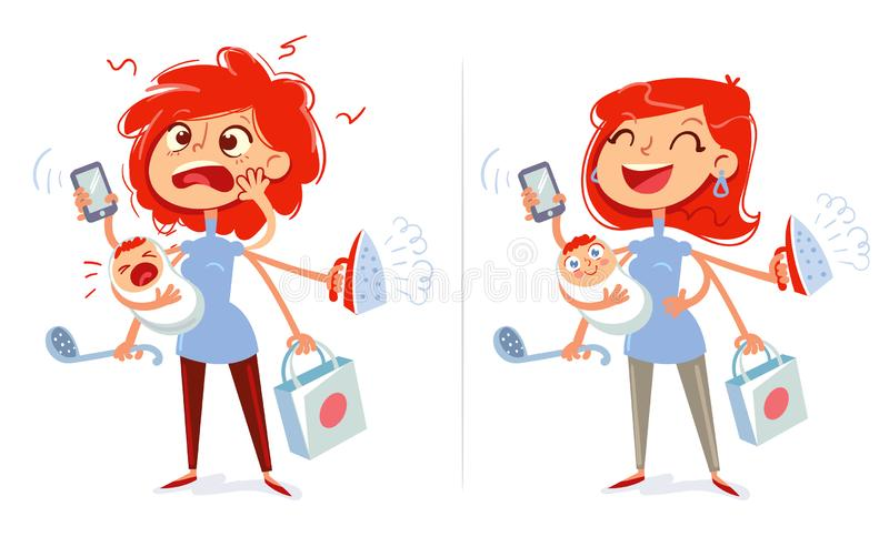 Multitasking mom and housewife. Tired and cheerful woman. Funny cartoon character. Vector illustration. Isolated on white background. Set stock illustration