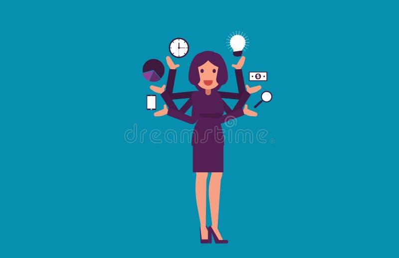 multitasking Mulher de negócios com braços múltiplos Illustrat do vetor ilustração stock