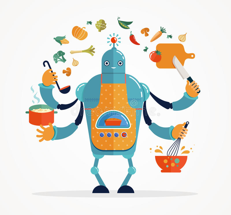 Multitasking robot chef baking and cooking stock illustration