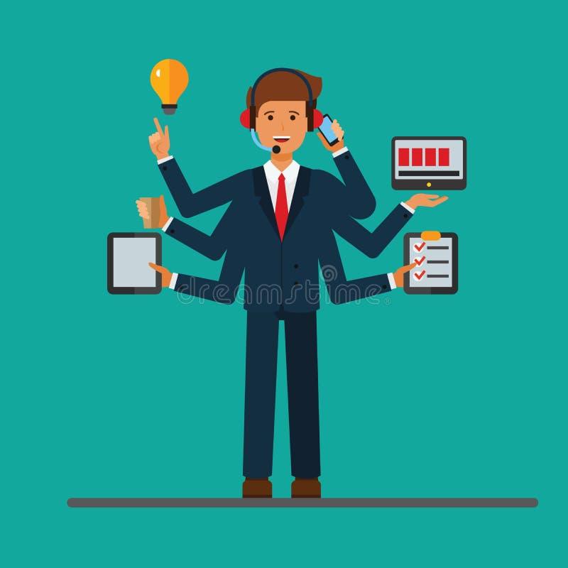 Multitasking succesvolle zakenman aan het werk in bedrijfsbureau Vector conceptenillustratie royalty-vrije illustratie