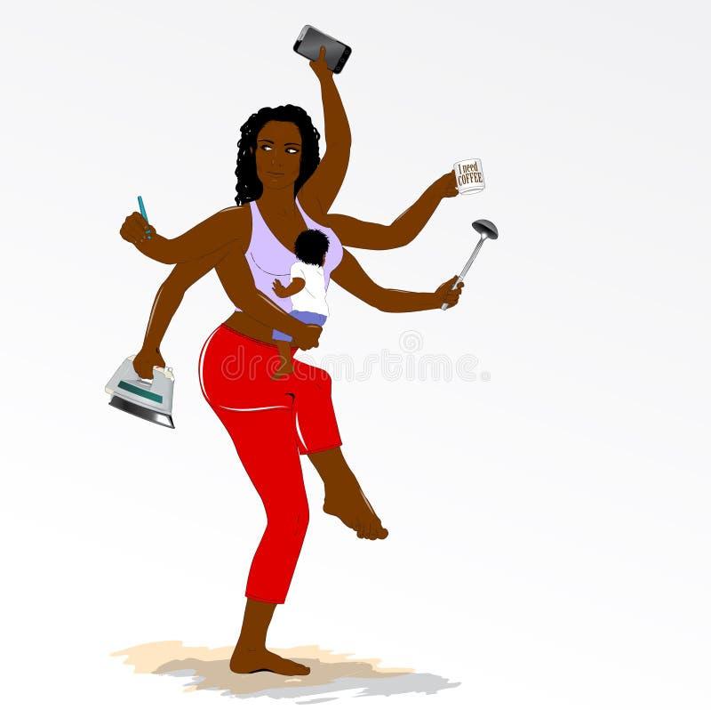 Multitasking super matka z sześć rękami. royalty ilustracja