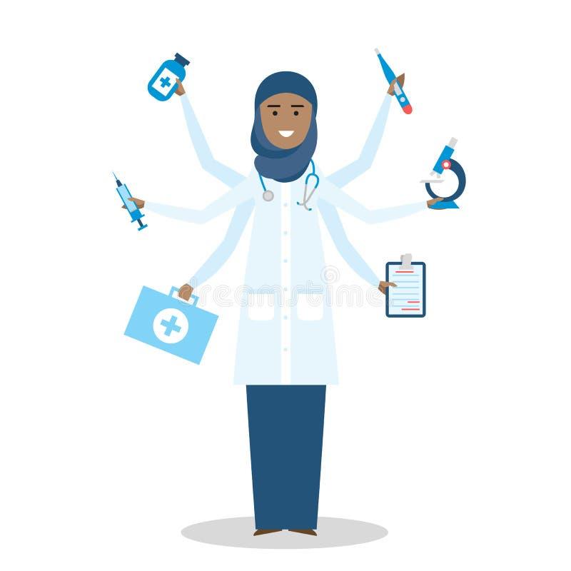 Multitasking vrouwelijke arts die zich op wit bevinden royalty-vrije illustratie