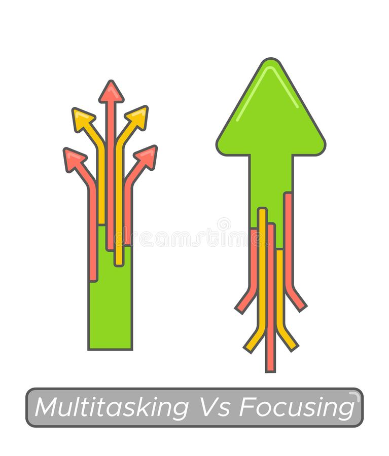 Multitasking vs focusing time management concept. Essential goal achieve vs busy and noneffective.  stock illustration
