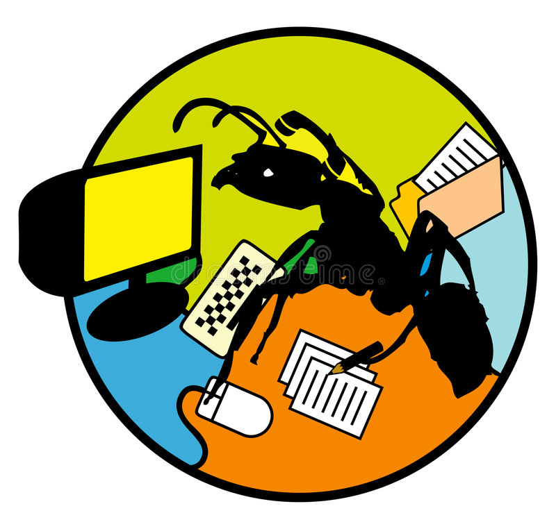 Multitasking worker ants royalty free illustration
