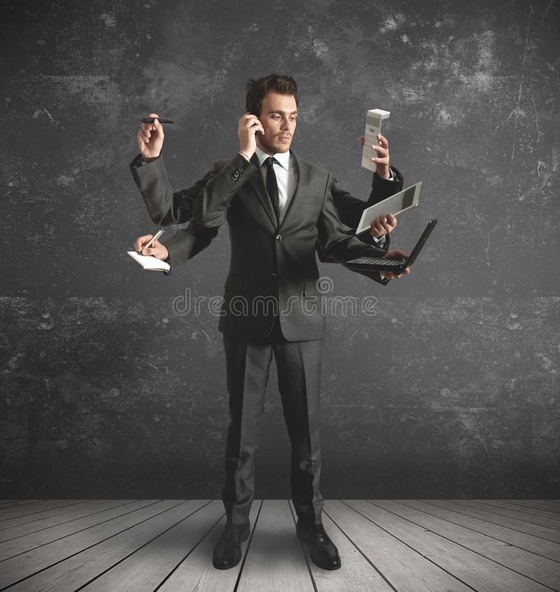 Multitasking zakenman royalty-vrije stock afbeelding