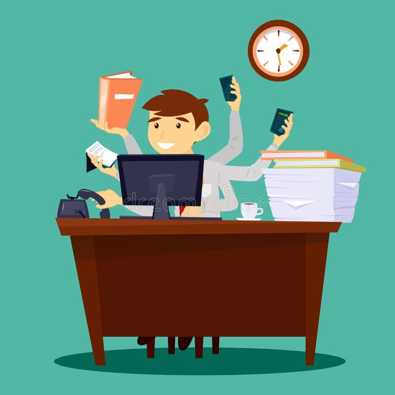 Multitasking zakenman Mens aan het Werk in Bureau vector illustratie