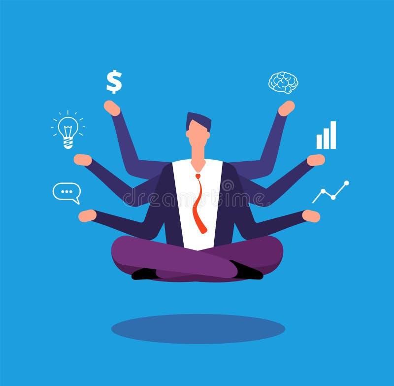 Multitaskingaffärsman Chefen som sitter i yogalotusblomma, poserar och jonglerar med uppgifter Effektivt ledningvektorbegrepp royaltyfri illustrationer