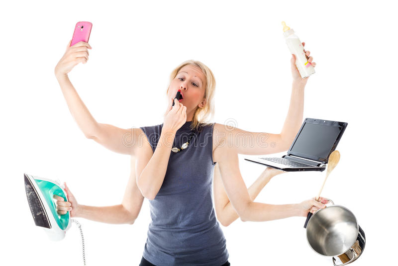 Multitaskingkvinna fotografering för bildbyråer