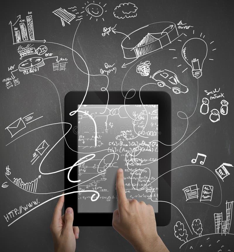 Multitastking-Tablette lizenzfreie stockfotografie