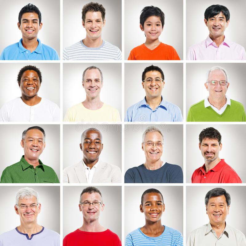 Multithnics-Gruppe von Personenen-lächelnde Porträts lizenzfreies stockfoto