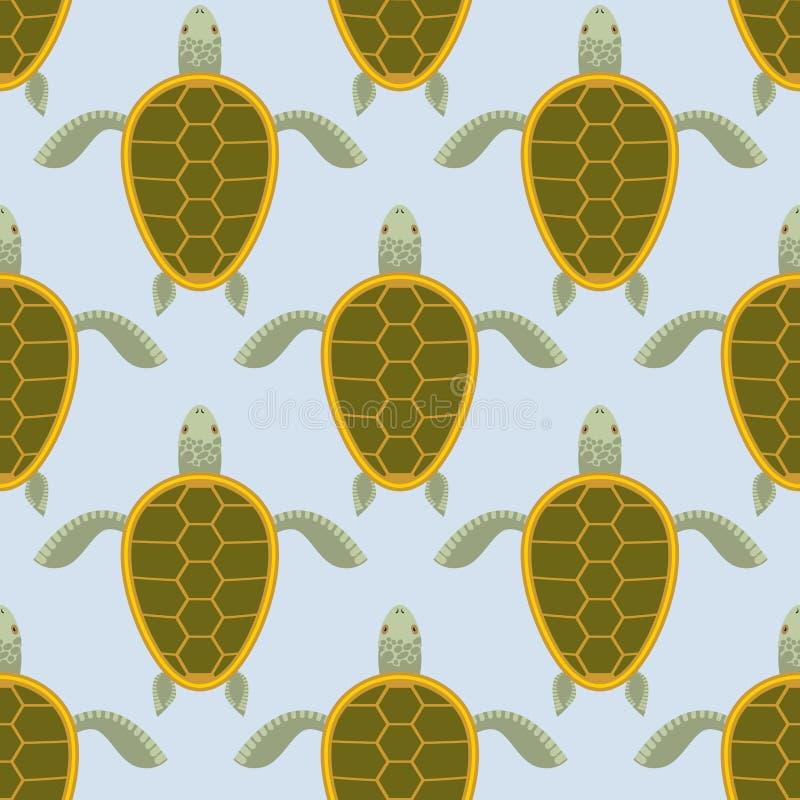 Multitud de las tortugas de mar Modelo inconsútil de la tortuga del agua Parte posterior del vector stock de ilustración