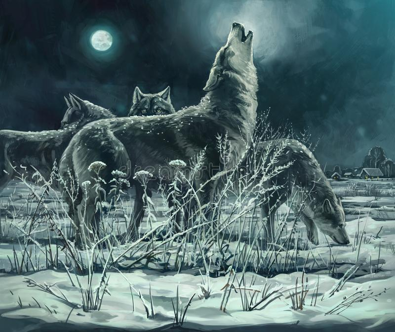 Multitud de lobos stock de ilustración
